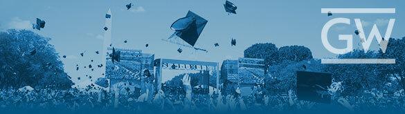 George Washington University Logo placed over a photo of the GWU graduation ceremony