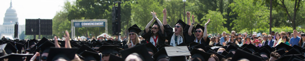 outdoor graduation ceremony at GWU